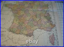Vintage Original 1898 Rand McNally Map FRANCE aprox 28 x 22 GREAT