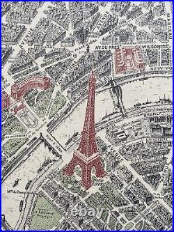 Vintage Original 1954 Paris France Arial View Map RARE 50s 44x27.5 Travel Poster