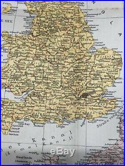 Vintage Original German Marine Map 1940s England & North Sea Country 48 x 46 cm