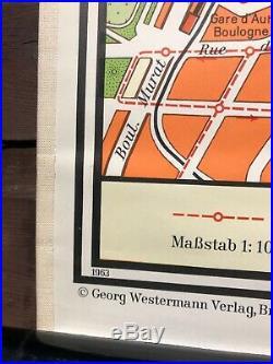 Vintage PARIS CITY MAP Westermann linen backed school map1965 FRANCE educational