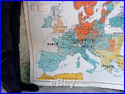 Vintage Pull down wall school map France n 220 Hatier Europa