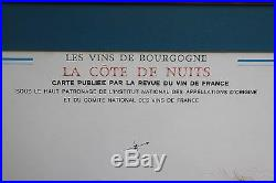 Vintage Vins de Bourgogne France Wine Appellations Atlas Map Louis Larmat 1978