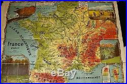Vintage antique French School Poster map FRANCE 1920