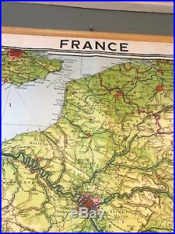 Vintage wall map France 1966 Large 80 X 80 Paris School Map