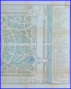 Vnt Paris France 1867 World's Fair Map-Exposition Universalle- Framed 16 x 31