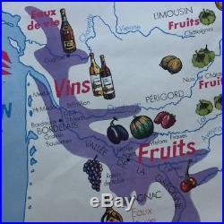 Vtg 1960 FRANCE SCHOOL MAP Vineyard & Fruit Champagne Beaujolais Bordeaux PARIS