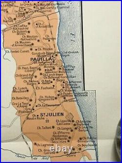 WINE MAP BORDEAUX- MEDOC HAUT-MEDOC- FRANCE 1943 LARGE ANTIQUE MAP by LARMAT