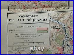 WINE MAP CHAMPAGNE BAR SEQUANAIS- FRANCE 1944 by LARMAT LARGE ANTIQUE MAP