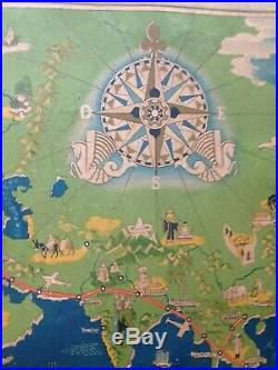 WORLD MAP AIR FRANCE Lucien BOUCHER 1937 ANTIQUE LARGE CHROMOLITHOGRAPHY