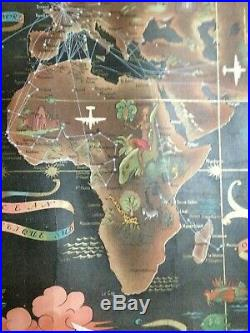 WORLD MAP AIR FRANCE Lucien BOUCHER 1948 ANTIQUE LARGE CHROMOLITHOGRAPHY