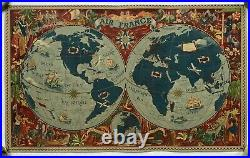 WORLD MAP AIR FRANCE Lucien BOUCHER 1950 ANTIQUE LARGE PICTORIAL LITHOGRAPHY