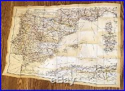 WW2 Silk Rayon 2 Sided Map Spain France Corsica Balearic Islands
