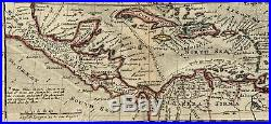 West Indies Americas North Carolina New Spain & France 1732 Moll antique map