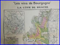 Wine Map Burgundy- Cote De Beaune France 1942 Very Large Antique Map Limited Ed