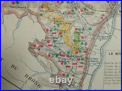 Wine Map Burgundy- France 1942 Larmat Very Large Antique Map Limited Edition