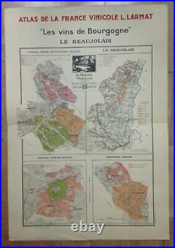 Wine Map Burgundy -beaujolais France 1942 Larmat Large Antique Map Limited Editi
