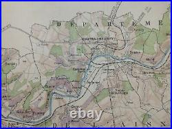 Wine Map Champagne (marne-aisne) France 1944 Larmat Very Large Antique Map