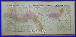 Wine Map Champagne (reims) France 1944 Larmat Very Large Antique Map 20th Cent
