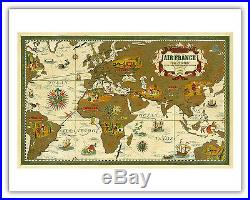 World Map Air France Boucher 1939 Vintage Airline Travel Poster Fine Art Print
