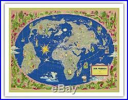 World Map Air France Boucher Vintage Airline Travel Poster Fine Art Print
