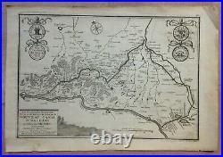 XVIIIe SIECLE 1716 CANAL D'ORLEANS par NICOLAS DE FER ANTIQUE VUE GRAVEE