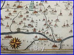 XVIIe SIECLE 1617 JEAN LE CLERC SOUVERAINETE DE DOMBES LARGE ANTIQUE MAP- CARTE