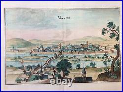 XVIIe SIECLE 1661 MANTE LA JOLIE (FRANCE) MATTHAEUS MERIAN LARGE ANTIQUE VUE