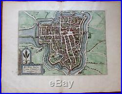 Ypres Flanders Northern France City Walls 1582 Guicciardini Plantijn antique map